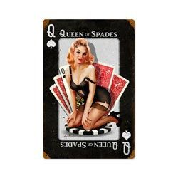 Retro heavy gauge steel sign,Queen of Spades, pin up girl, vintage metal sign, this is a premium sign made from heavy gauge american steel, it measures approx. 11 1/2 X 17 1/2 and weighs 2 lbs. this sign ships in approx. 2 to 3 weeks.    Items are securely wrapped and packaged to prevent damage during shipping. Feel free to convo me with any questions, thanks for looking at our shop