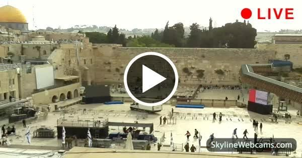 Jerusalem, view over the Western Wall and Temple Mount from Simcha Hall at the Kotel