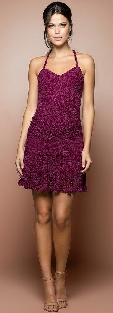 Vanessa Montoro purple crochet dress @roressclothes closet ideas #women fashion outfit #clothing style apparel