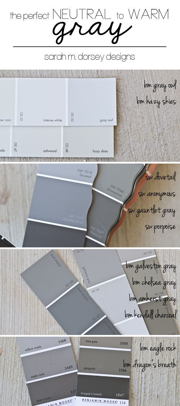 I spent a good bit of time last week staring at gray paint samples, so today, I thought I'd share how to pick out the perfect neutral to warm gray. Grays are tricky! Whatever you do - don't use the fi