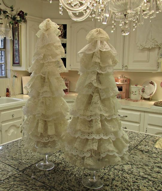 Penny's Vintage Home: Lace Christmas Trees, Christmas garland trees