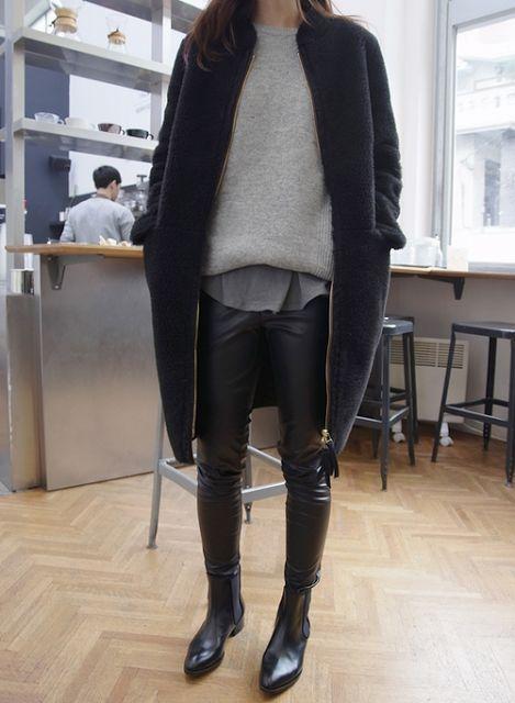 The grey sweatshirt + peeking shirt + big coat.