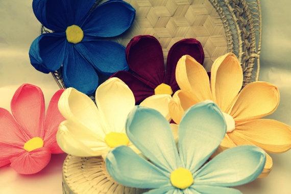 10 Big Handmade paper flowersCrepe paper by LandofFlowers on Etsy, $30.00