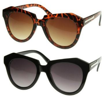 Triple Optic Modern Thick Cat Eye Sunglasses in black and tortoise (Karen Walker Number One knockoffs)