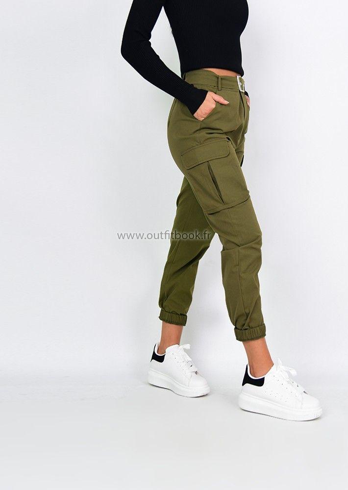 Pantalon Cargo Kaki Avec Poches Pantalones De Moda Mujer Pantalones Cargo Mujer Pantalones De Moda