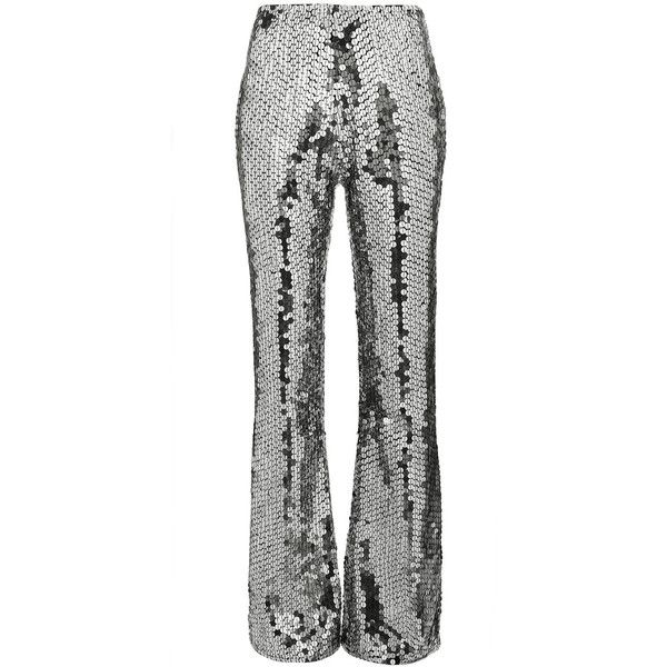 Filles A Papa Mid-Rise Silver Sequin Embellished Flared Trousers ($728) ❤ liked on Polyvore featuring pants, grey, mid rise pants, metallic silver pants, flare pants, sequin embellished pants and grey pants