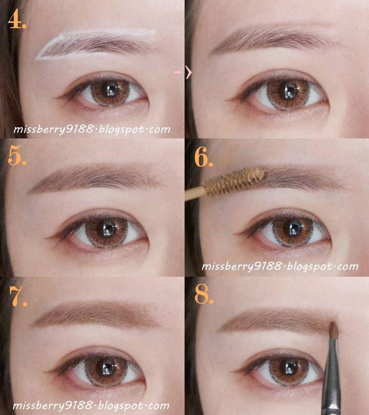 eyebrow korean tutorial - Buscar con Google                                                                                                                                                                                 Más