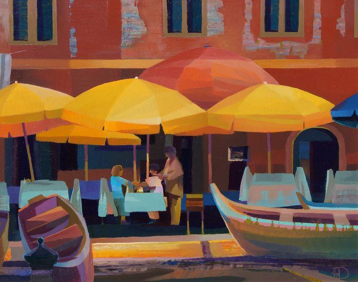 """Mediterrane sfeer in """"Italiaan Night"""" van Ton Dubbeldam, 40 x 50 cm"""