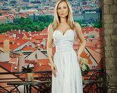 "White Dress  Maxi. Bridesmaids Dress ""One Color"" 100% Viscose.Evening dress /  High Quality Designer summer dress. Silk dress."