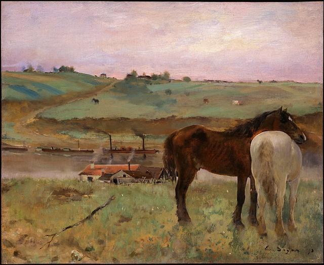 Edgar Degas - Horses in a meadow (1871)