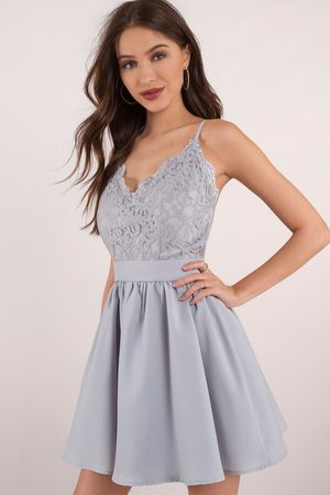 31fce0be4e Mila Light Blue Lace Pleated Sleeveless Skater Dress