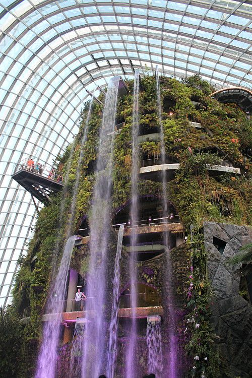 You can explore the interior of the mountain, which includes a treetop boardwalk, stalactites and stalagmites (cave rock things) and some great views of the Marina Bay area (including the famous Marina Bay Sands). It costs $28 to enter the cloud forest/flower dome, but it's definitely worth it.
