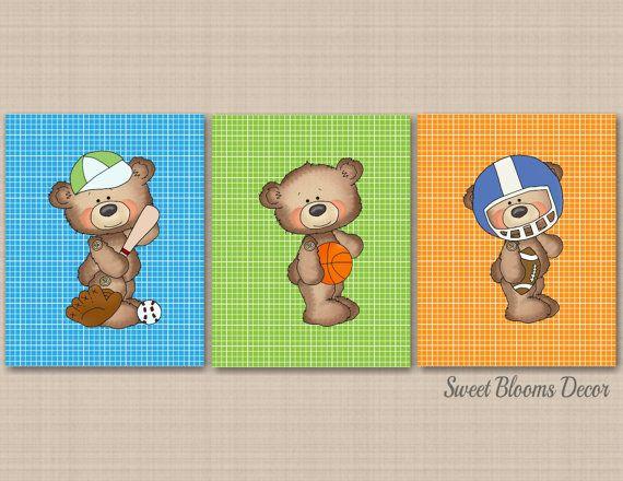 Bear Nursery Decor,Sports Nursery Wall Art,Sports Kids Room  by SweetBloomsDecor on Etsy