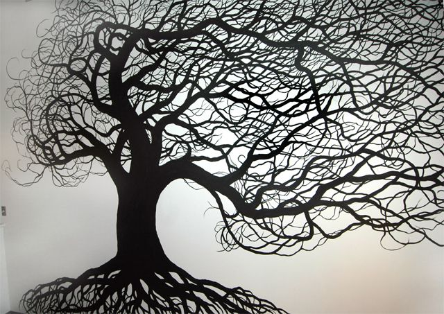 Best 25 tree wall painting ideas on pinterest tree for Black tree mural