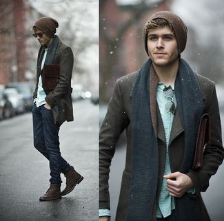Men's Chocolate Beanie, Navy Scarf, Mint Longsleeve Shirt, Burgundy Leather Boots, Navy Jeans, and Chocolate Pea Coat