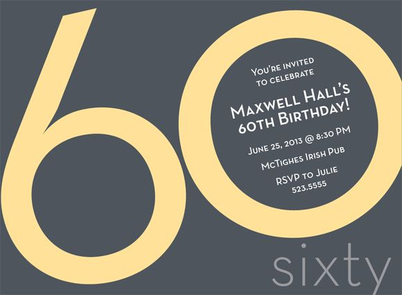 numeral card 60th yellow milestone birthday invitations by