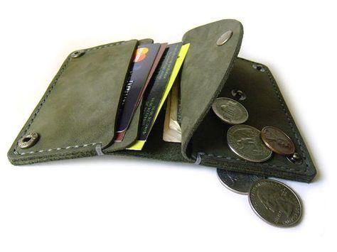 Handgefertigte Leder-Portemonnaie - Leder-Portemonnaie - Mini Ledermappe für Cash-Karten und Münzen - hand genähte Tasche