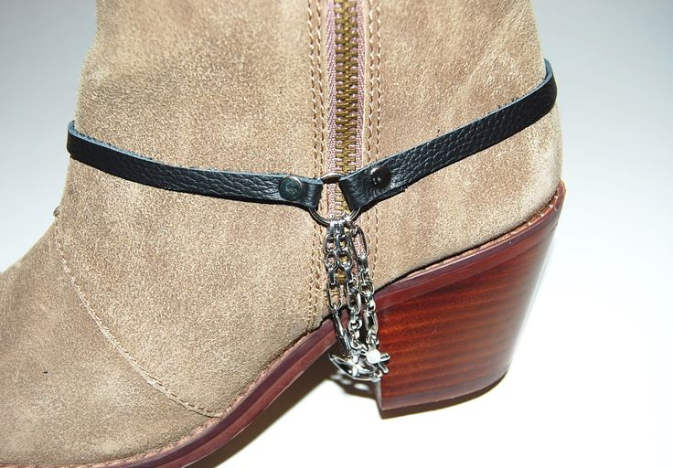 Leather Boot Bracelet, Boot Jewelry, Boot Bling, Boot Accessory, Boot Anklet, Boot Charms, Genuine Leather, Bike Boot, Nautical Theme Charms by Sewmuchfunstuff on Etsy