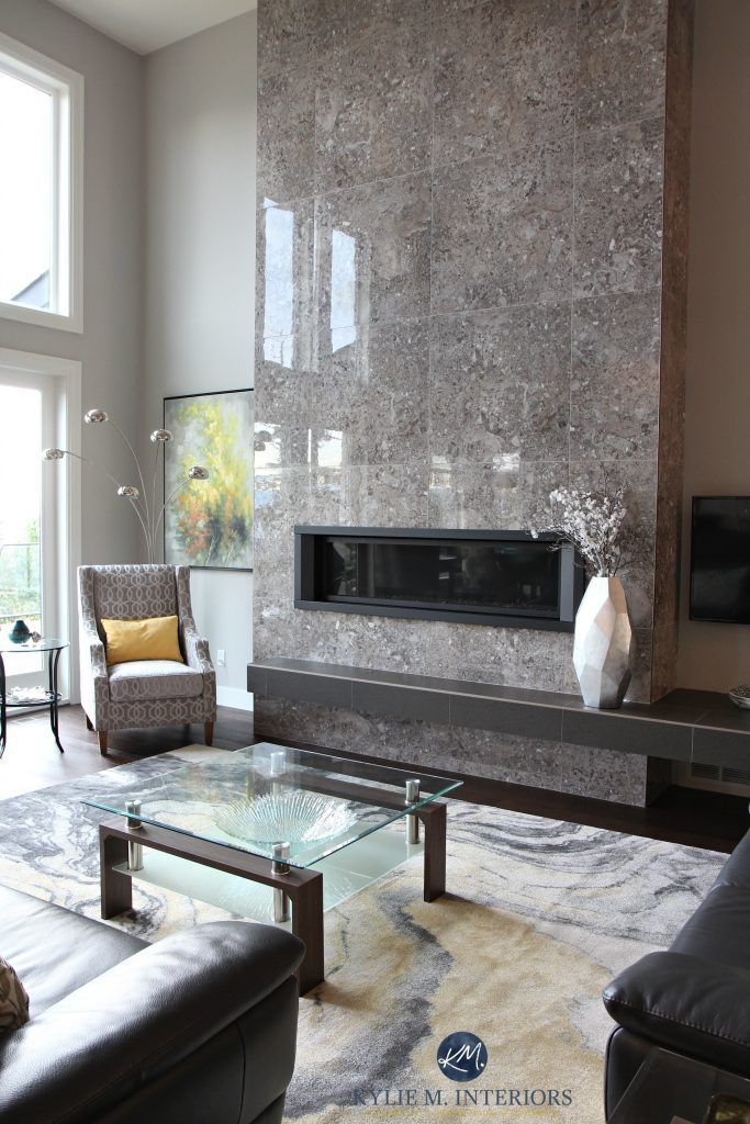 Tile 2 Story Fireplace Sherwin Williams Calm Gray Contemporary