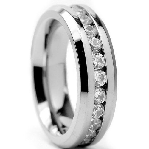 6MM Ladies Eternity Titanium Ring Wedding Band with CZ sizes 4 to 9 Metal Masters Co.. $22.99. Comes with a FREE Ring Box!!. Grade AAAAA Quality Cubic Zirconia. Comfort Fit. 30-Day Money Back Guarantee. Genuine Titanium