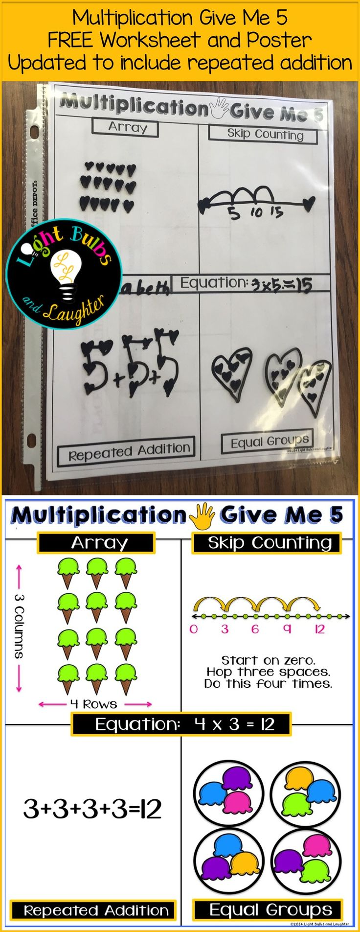 Have your students show you multiplication in 5 different ways! FREEBIE has been updated with repeated addition. =)