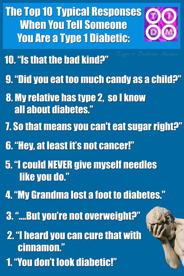 Should be labeled things to never say to a Diabetic.