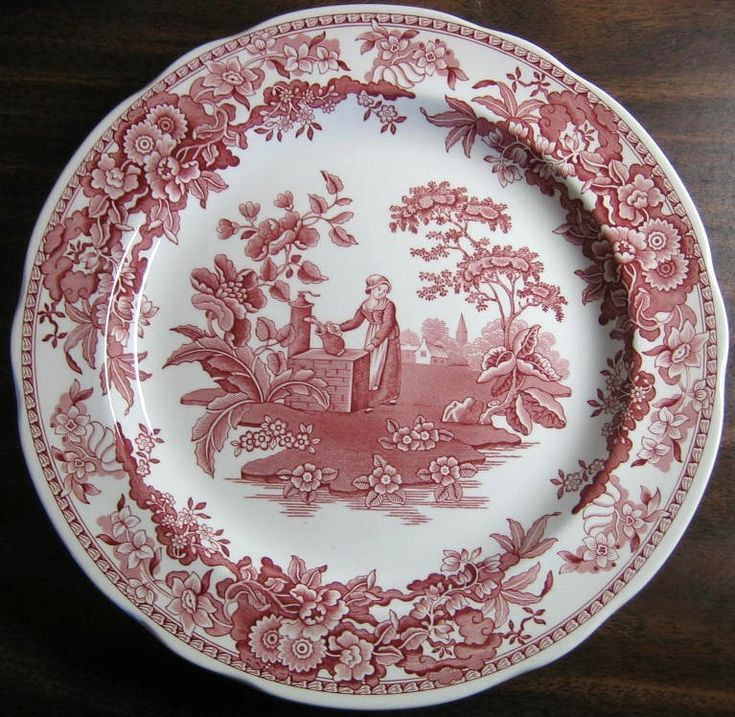 Decorative Dishes - Red Pink Toile Transferware Girl Calico Daisy Plate, $34.99 (http://www.decorativedishes.net/red-pink-toile-transferware-girl-calico-daisy-plate/)