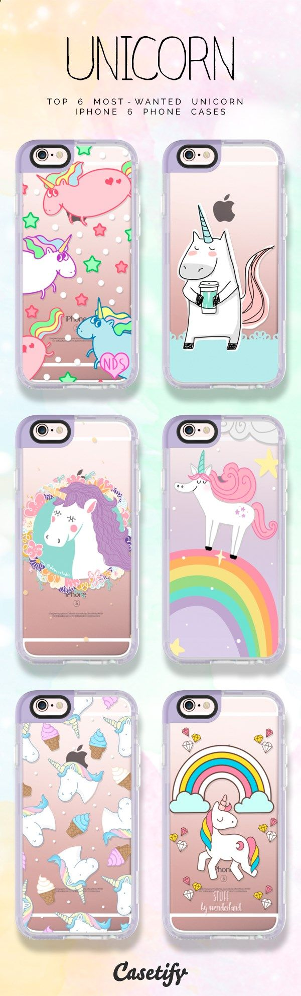 Top 6 most wanted pastel unicorn iPhone 6 protective phone cases | Click through to shop these pastel iPhone phone case ideas >>> www.casetify.com/... #animal | Casetify