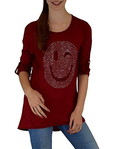 Modisches Smily Damen Shirt 3/4 Arm angedeuteter Vokuhila-Look super modern Gr.: S – XXL 36 – 44 Rot one size S – XXL   http://xxl.damenfashion.net/shop/modisches-smily-damen-shirt-34-arm-angedeuteter-vokuhila-look-super-modern-gr-s-xxl-36-44-rot-one-size-s-xxl/