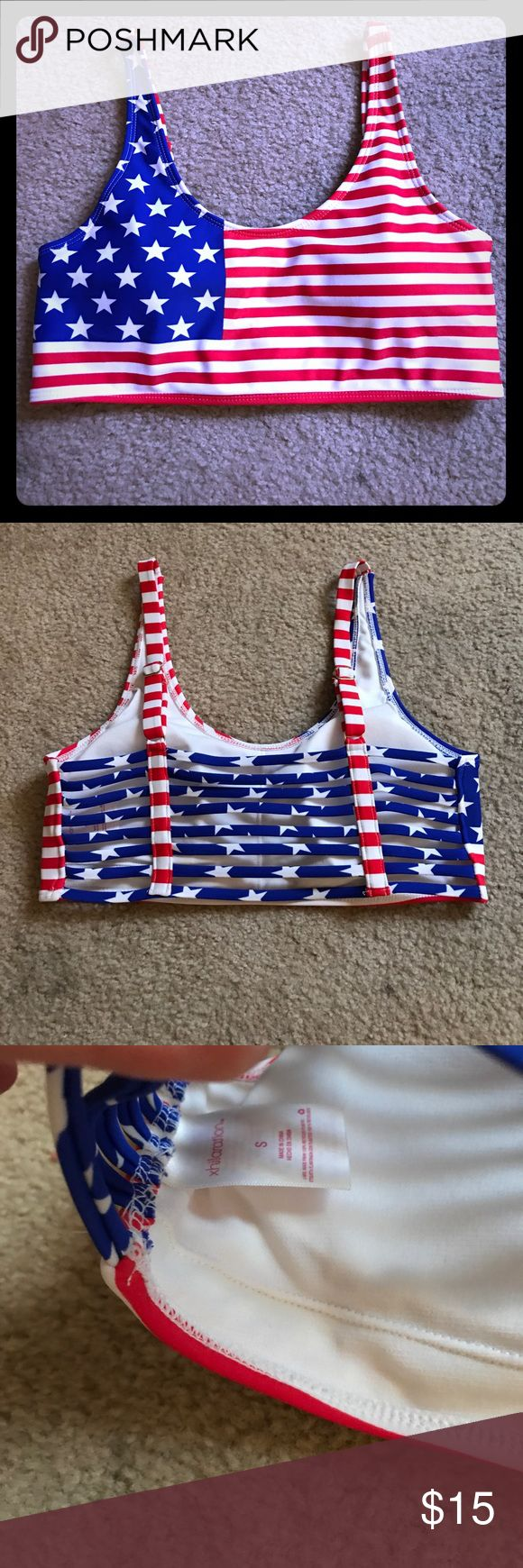 American Flag Patriotic Bikini Top Super cute American Flag patriotic bikini top. Xhilaration size small. Has removable pads. Awesome 8 strap back with adjustable shoulder straps. Perfect for literally any time of the year. EUC! USA 🇺🇸🇺🇸🇺🇸 Xhilaration Swim Bikinis