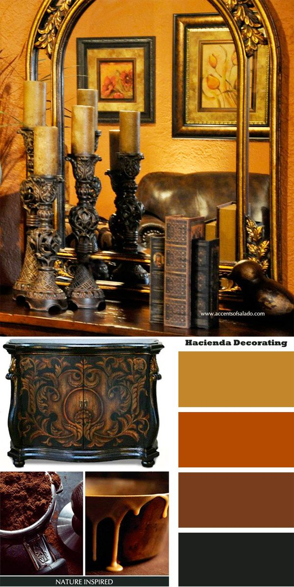 Traditional Hacienda Decorating Colors.. find them in our mirrors, our accessories, our wall art and our furniture.