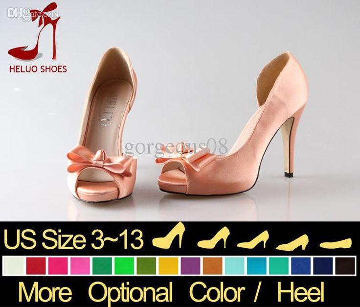 Wholesale Chs380 Custom Handmade Open Toe Bow Two Piece Peach Wedding Shoes Pump Dress