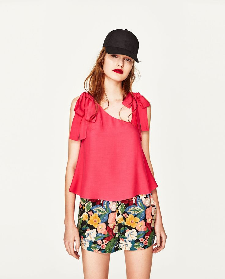 ZARA PINK STRAPPY TOP WITH BOW