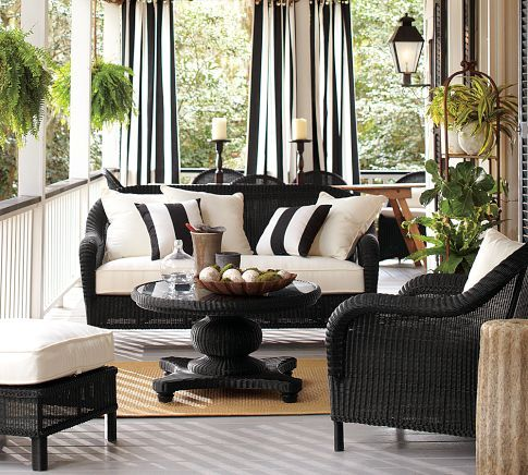 Love the way this porch looks. Palmetto All-Weather Wicker Sofa - Black | Pottery Barn