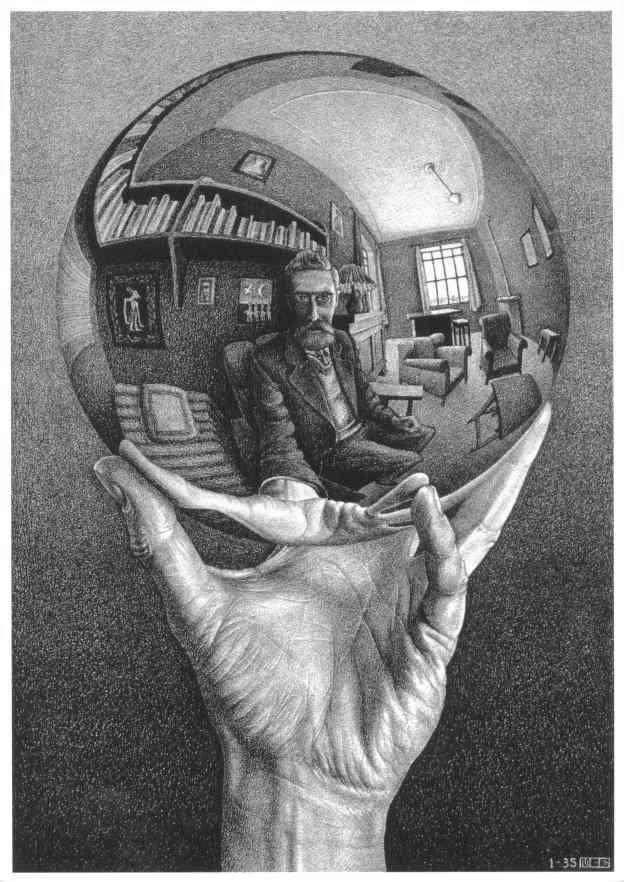 M C Escher Woodcuts | Mano con sfera riflettente