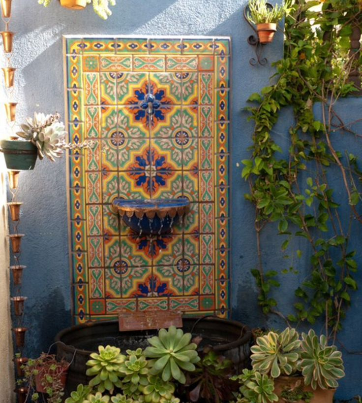 25 best fountain talavera tile images on pinterest for Mexican style outdoor fountains