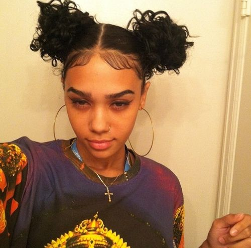 double bun hairstyle, afro hairstyle, baby hairs, black girl, black womens inspiration