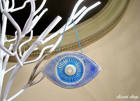 Ceramic eye evil eye blue evil eye wall hanging eye by elizartshop