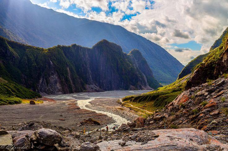 Fox glacier valley and stream in South Alps