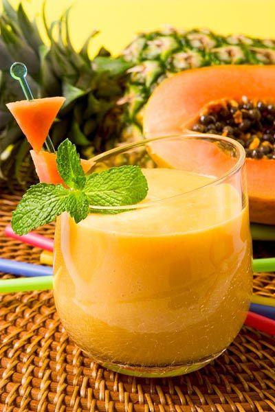 Gesunder Abnehm-Smoothie mit Papaya, wahlweise mit oder ohne Eiweiß