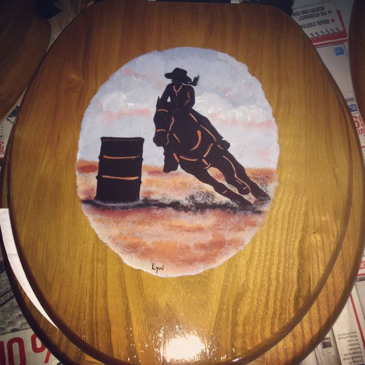 Hand painted wooden toilet seat - barrel racer by Lyn $45 barrel racing homemade country home