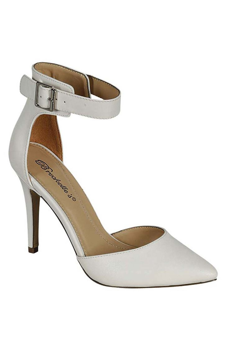 Breckelle's Isabel-01 Ankle Strap Pump in White in White - Beyond the Rack $14.99