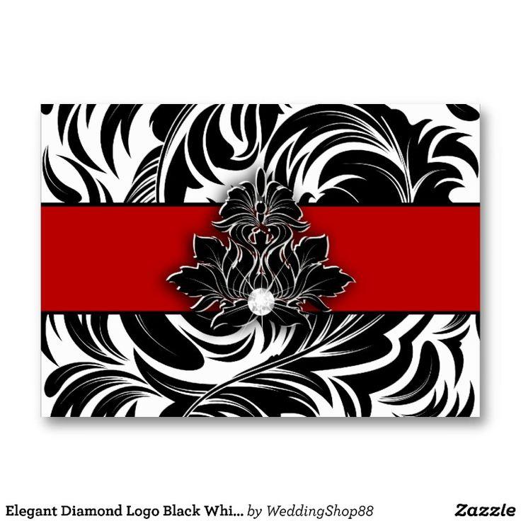 Elegant Diamond Logo Black White Red Jumbo 2 Business Card Templates