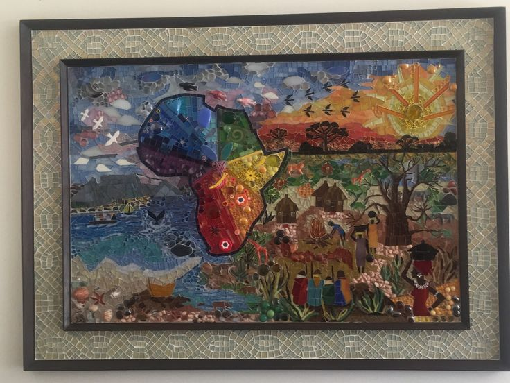 This is my own Mosaic design of Africa which took me two and a half months to completion. By Ria Dobkins