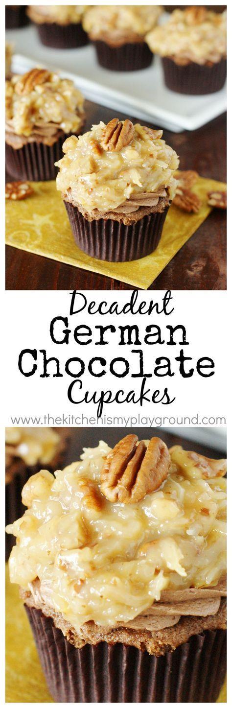 German Chocolate Cupcakes ~ chocolate cake, creamy chocolate frosting, & ooey-gooey coconut-pecan topping in every bite! http://www.thekitchenismyplayground.com