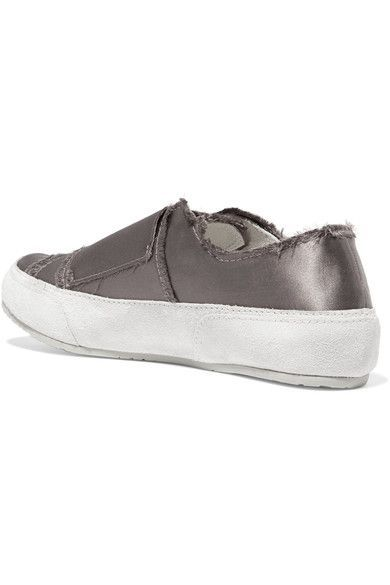 Pedro Garcia - Palmira Suede-trimmed Frayed Satin Sneakers - Gray - IT39.5