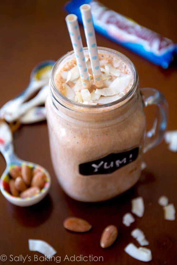 Skinny Almond Joy Milkshakes made from yogurt, bananas, and unsweetened cocoa powder. Delicious!