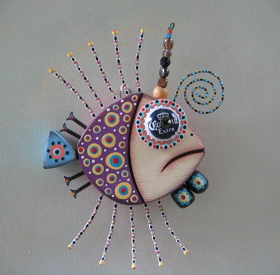 Twisted Guppy, Original Found Object Sculpture, Wood Carving, Wall Art, by Fig Jam Studio