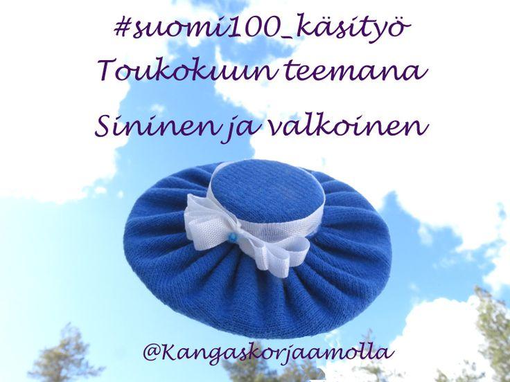 Suomi 100 vuotta -teemakäsitöiden aiheena toukokuussa sininen ja valkoinen. Bonustehtävänä on raha. Lähde mukaan yhteisölliseen käsityöprojektiin. https://kangaskorjaamolla.blogspot.fi/2017/05/toukokuun-teemana-sininen-ja-valkoinen.html