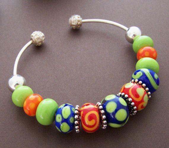 Celebrate Color Bracelet  Lampwork Glass Bead by StoneStreetStudio, $99.00